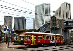 NewOrleansHUDRedStreetcarRiverfrontCanal1 300x210 Suburban rail: An idea whose time has come … again? Act 2