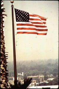 A smoggy 1972 Los Angeles backdrop to U.S. flag